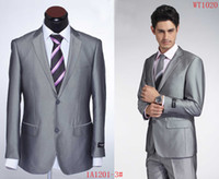 Men Pant Suit Formal Mens Luxury Dress Suit 2-Button Shiny Silver Jacket+Pants 52 36