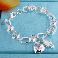 best chain locks - Best selling silver heart lock bracelet inlaid stone girl gift fashion jewelry