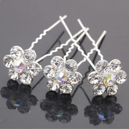 20 Pcs Clear Crystal RHINESTONE Wedding Bridal Prom Hairpins U shaped Hair Pins Pin Free Shipping
