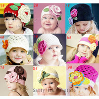 Girl hand crochet baby beanie hat - Hand Knitted Baby Flower Hat Spring Crochet Girls Flower Hat Baby Crochet Beanie Baby Flower Caps