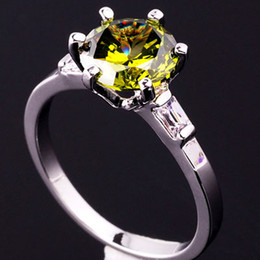 Round Green Peridot Slim Band Lady Cocktail Ring Gems Size 6 Silver Tone GF New J0414