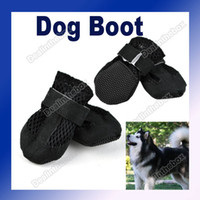 Wholesale New Pet Dog Boot Shoes Air Holes Black Suede Synthetic Velcro Tab Black Size