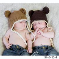 Wholesale Boys Monkey Knit Hat Baby Crochet Ear Hats Hand Crochet Baby Spring Beanie Kids Crochet Caps Hat