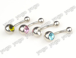 Wholesale 50PC g Multi Color Gemmed Belly Rings Navel Bars Piercing Body Jewelry BPJ91