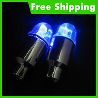 Wholesale 20x Blue Car Bike wheel Tire Valve Cap flash LED Light