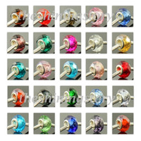 Wholesale 50PC Faced glass chamilia biagi european large big hole fit for charm bracelets