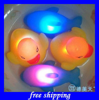 Unisex 8-11 Years Plastic hot sales LED colorful dolphin floating rubber ducks toy baby bath duck toys EMS free shipping