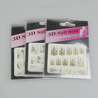 Wholesale 30PCS Nail Art D Sticker Decal White amp Gold Flowers amp Rhinestone3D Nail Sticker D Nail Patch MZ