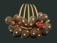 Wholesale hot sell Vintage Hair Jewelry flower rhinestone hair combs hair accessory mixed color FK204