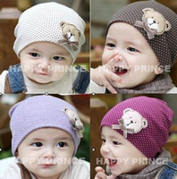 Wholesale Pieces Spring Style Cotton Knit Baby Cap Baby Hat With Lovely Cartoon Bear