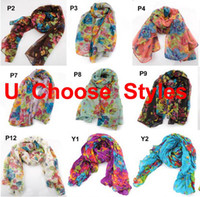 Wholesale 10pcs Womens Pastoral Style Flower Floral Large Long Stole Scarf Shawl Wrap
