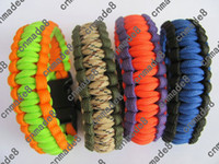 bracelets   New arrival survival bracelets outdoor sports colors parachute cord custom made paracord 550 with whistle