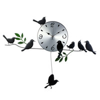 Digital iron artwork  iron artwork wall clock, exported quiet movement, eight lively birds, home decoration