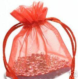Red Organza Gift Bag Wedding Favor Bags 7 X 9 cm ( 2.7 x 3.5 inch ) 200 Pcs