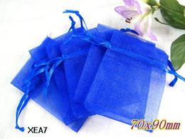 200 Pcs Royal Blue Organza Gift Bag Wedding Favor 7X9 cm ( 2.7 inch x3.5inch)