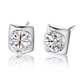 925 Sterling Silver Earrings Swiss Diamond Stud Earrings set in 14K White Gold Ear Jewelry For Women Bridal Wedding Jewelry Free shipping
