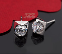 Wholesale 1 CT Round Swiss DIAMOND EARRINGS STUDS K White GOLD earrings for men women