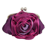 Wholesale Satin Roses Handbag - 2012 satin rose flowers Evening Bag Handbag Purse clutch wedding bags ladies's bag for party