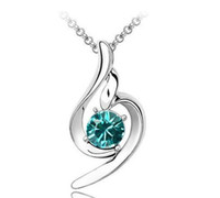 crystal heart - SWAROVSKI elements Shining Crystal Heart shape Sterling Silver White Gold Plating Pendant Necklace MG11