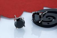 Wholesale 925 sterling silverblack agate pierre men Stud Earrings mm