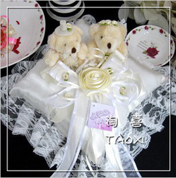 18cmW*18cmL Perfect Wedding,Satin Wedding Ivory Bear Ring Pillow 1PCS China Post Air Mail For Decoration Use