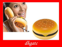 Wholesale Novelty fashion Hamburger Phone Corded Phone popular Cheeseburger Burger Phone US Standard Plug