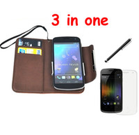 Wholesale Folio PU Leather Card Case Touch Pen Screen Protector for Samsung Galaxy Nexus Prime i9250