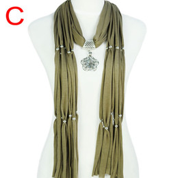 No Min. order ,Necklace Jewelry Scarves ,Europe Style Flower Drop Jewelry Pendant Charm Scarf Necklace , 5colors avaiable ,NL-1619