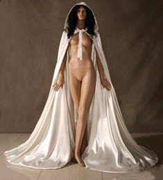 Wholesale White Satin Cape Cloak Medieval Renaissance Wedding Costume Custom Any colour