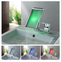 LED Chrome Stainless Steel chrome plated Faucet LED tap led faucet bathroom mixer waterfall basin tap sensor