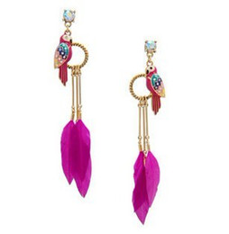 Wholesale-Fashion feather earrings bird ear colored glaze parrot feather earrings with zircon XN1
