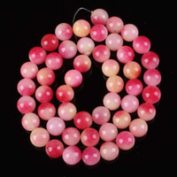 Wholesale X8MM Pink Yellow Jade Round Loose Beads Gemstone Strand quot