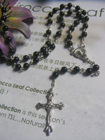 Wholesale price ROSARY BEADS BLACK PLAIN CROSS JESUS NECKLACE