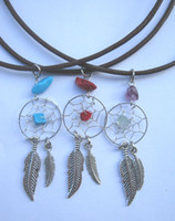 Wholesale whole sale new arrival alloy feather dream catcher necklace and earring hot sale