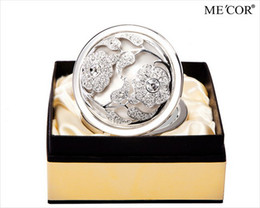 Wholesale Abar Valentine s day Gift Me Cor Hollow Flower Crystal Diamond Makeup Cosmetic Compact Mirror S