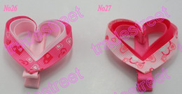 free shipping 20pcs mix color Girl hair bow clips love heart for Valentine's day
