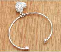 Wholesale silver Plated Metal Love heart bracelet jewelry Open Size bracelet with diamond For Girls MS21