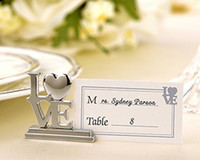 Wholesale Wedding Gifts Silver LOVE Place Card Holders in white box best for wedding and party favor