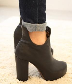 Charming High Platform Chunky Heel Shoes Ankle Boots Work Boots