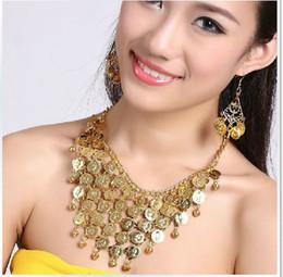 GOLD SILVER BELLY DANCE JEWELRY EARRING NECKLACE SET Belly Dance Jewelry Set Belly Dance Necklace Earring