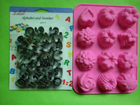 Wholesale 26pcs A Z Letters Numbers Cake Fondant Cutter Mould Silicone Shaped Chocolate candy Mold