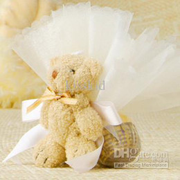 50 Pcs Teddy Bear With Organza Bags Wedding Favor Gift box Candy Boxes