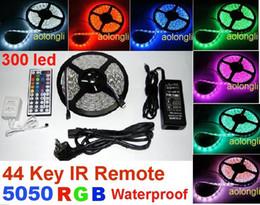 Flexible RGB LED Strip Light 300led 5050 SMD LED lighting strips Waterproof + 44 Keys Remote IR Controller+ Power Supply