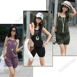 Wholesale Women Fashion Poly Cotton Sleeveless Romper Strap Short Jumpsuit Scoop Black Green Purple