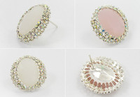 Wholesale Crystal diamond earrings stud earrings Fashionable pink white diamond stud earring