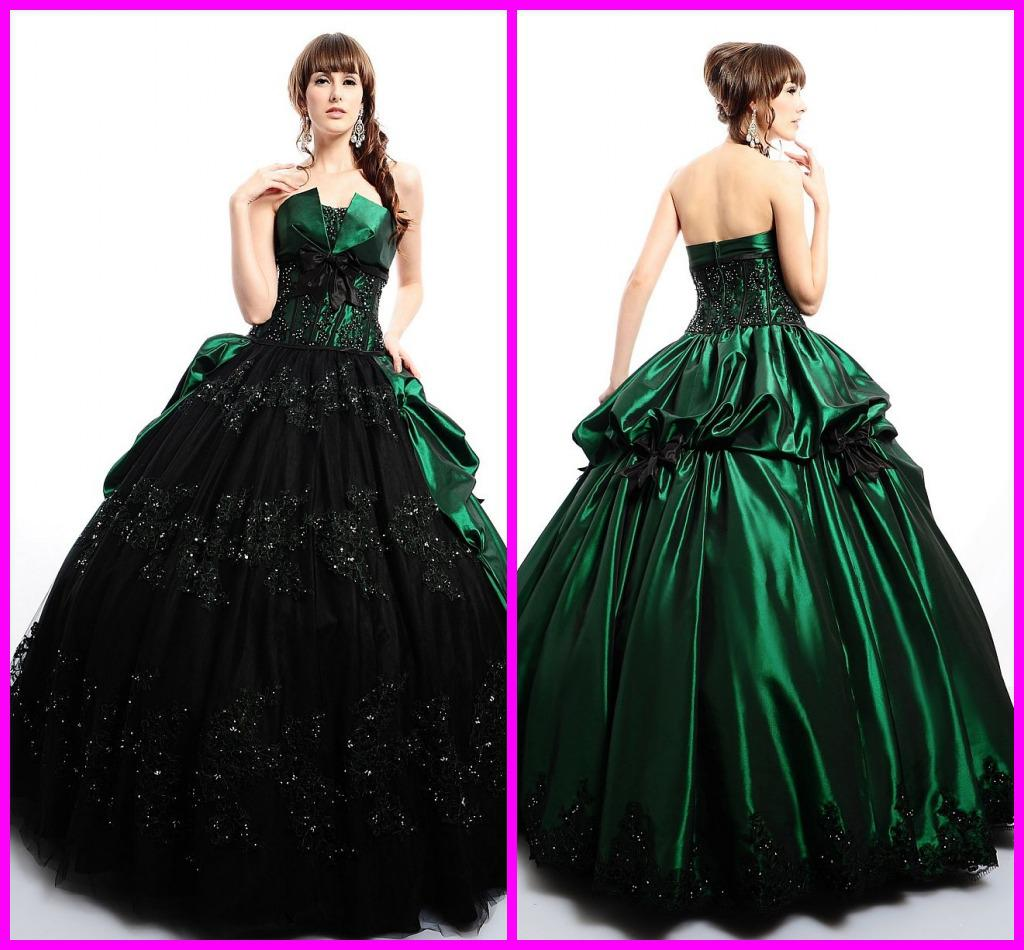 Unique Asymmetrical Ball Gown Bubble Black And Green Rhinestone ...