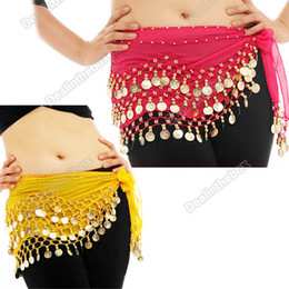 Wholesale 3 Rows Coins Belly Dance Hip Skirt Scarf Wrap Belt Costume Seven Colors