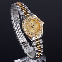 Wholesale New Small Case Lady Crystal Embed Quartz tone Stainless Steel Wristwatch Golden Dial N