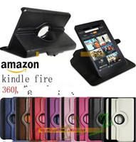 Wholesale Kindle fire case degree rotation Leather pouch for kindle fire e reader ebook quot