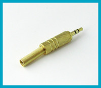 3. 5mm male Plug stereo Audio connector adapter straight gold...